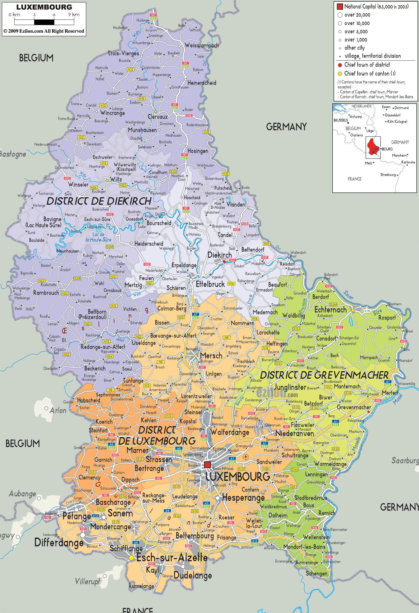 Kartta Luxemburg Luxemburg Maan Kartta Lansi Eurooppa Eurooppa