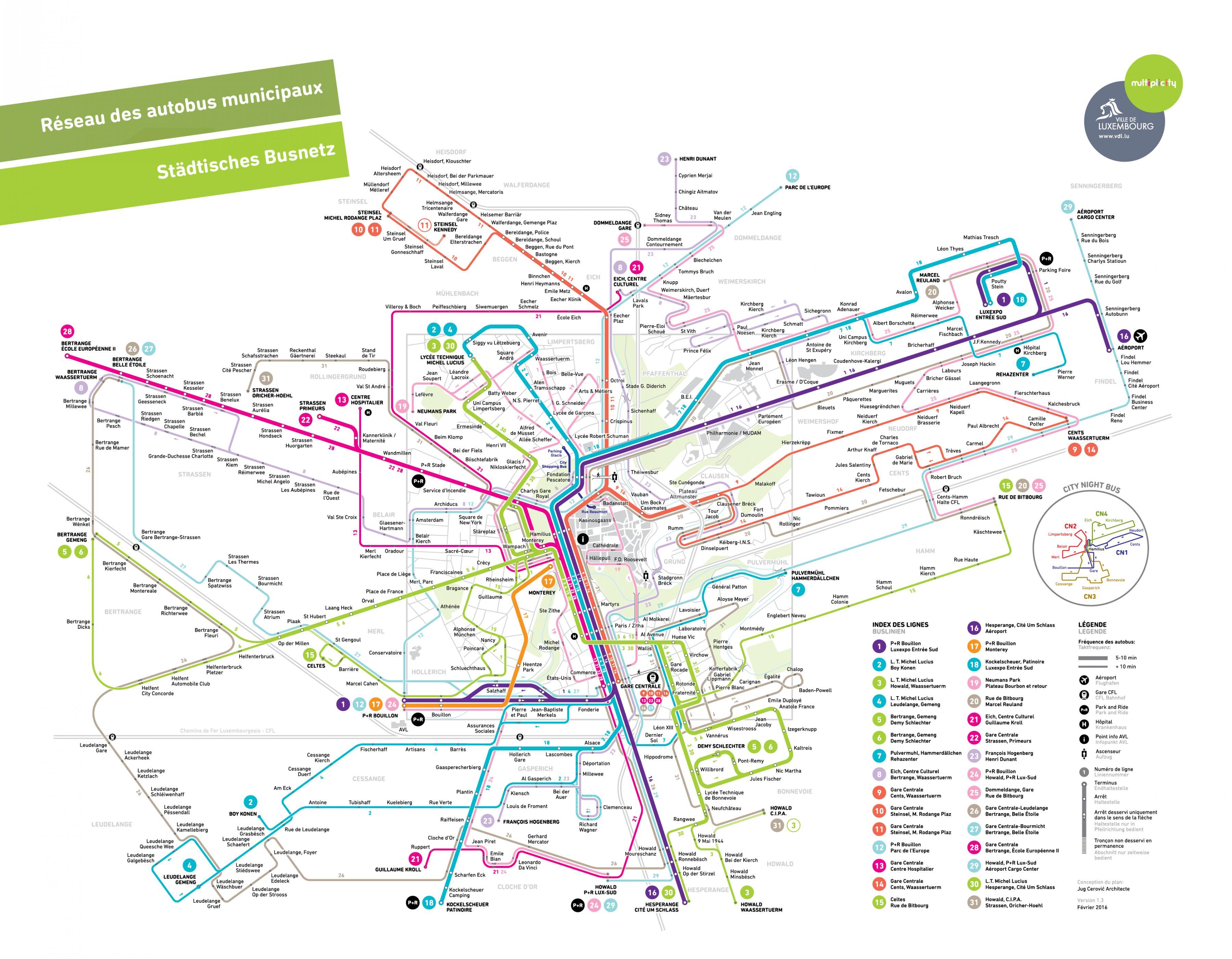 Luxemburgin Bussi Kartta Luxemburg Bus Reittikartta Lansi