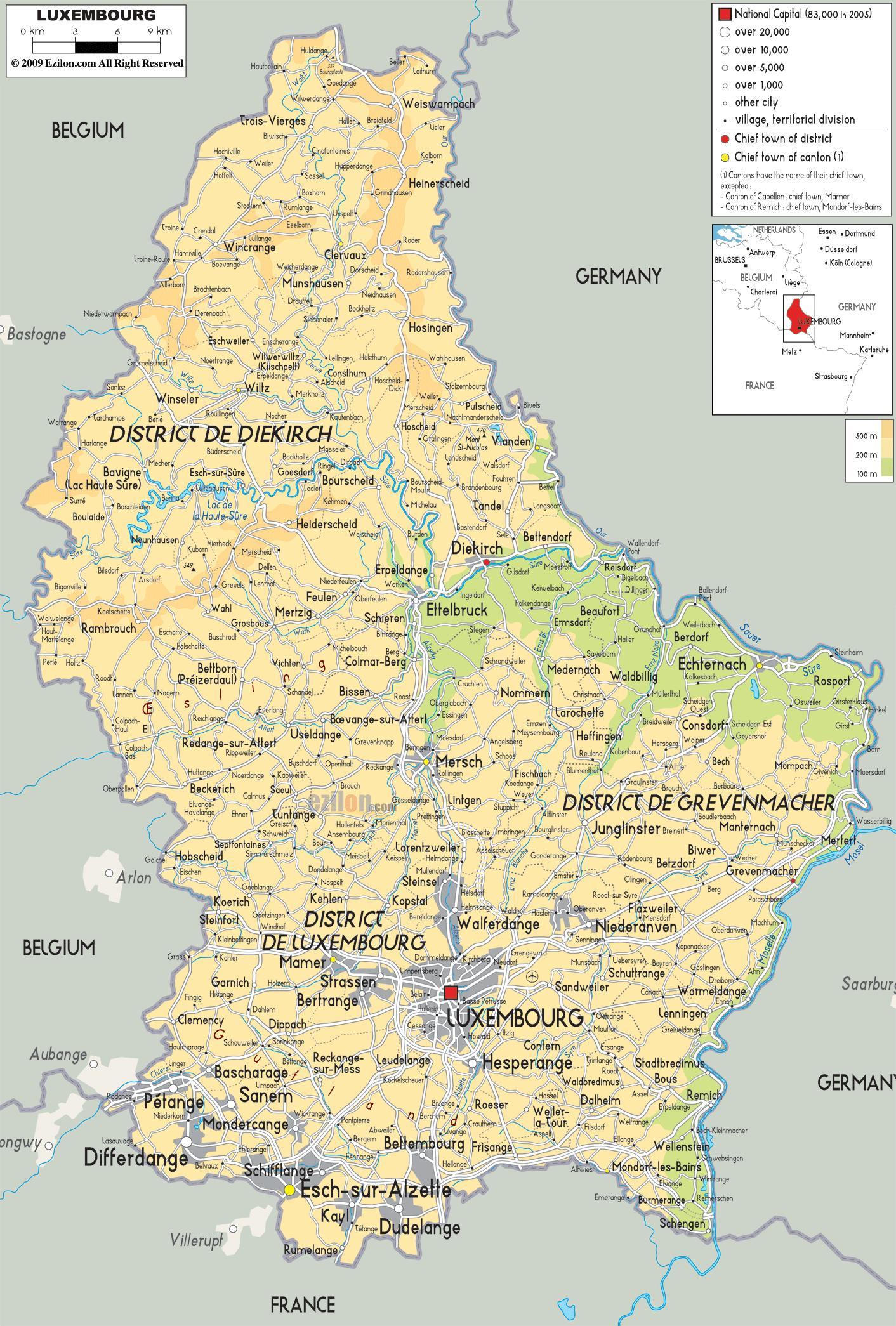 Luxemburgin Fyysinen Kartta Kartta Luxemburgin Fyysinen Lansi