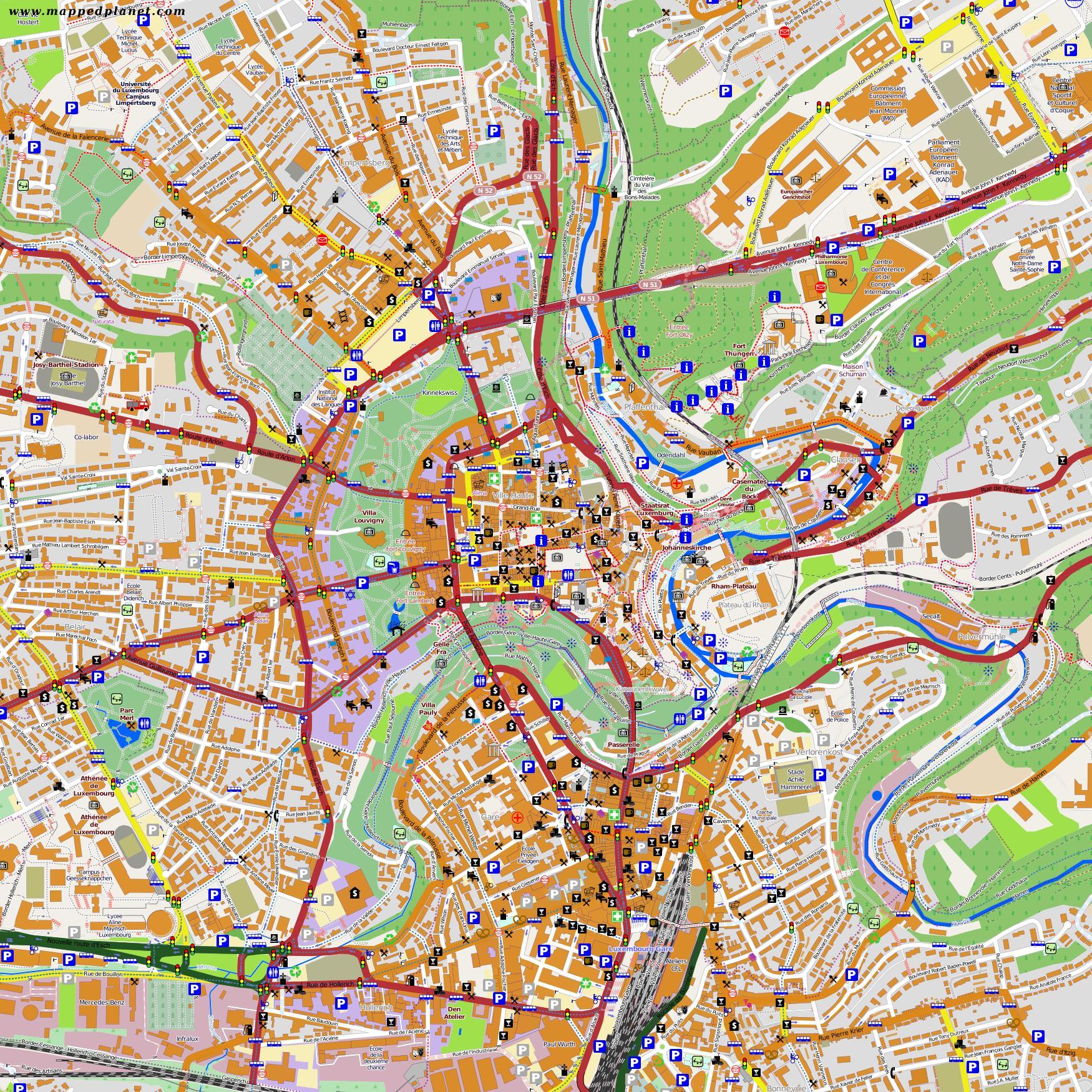 Luxemburgin Kaupungin Kartta Kartta Luxemburgin Keskusta Lansi