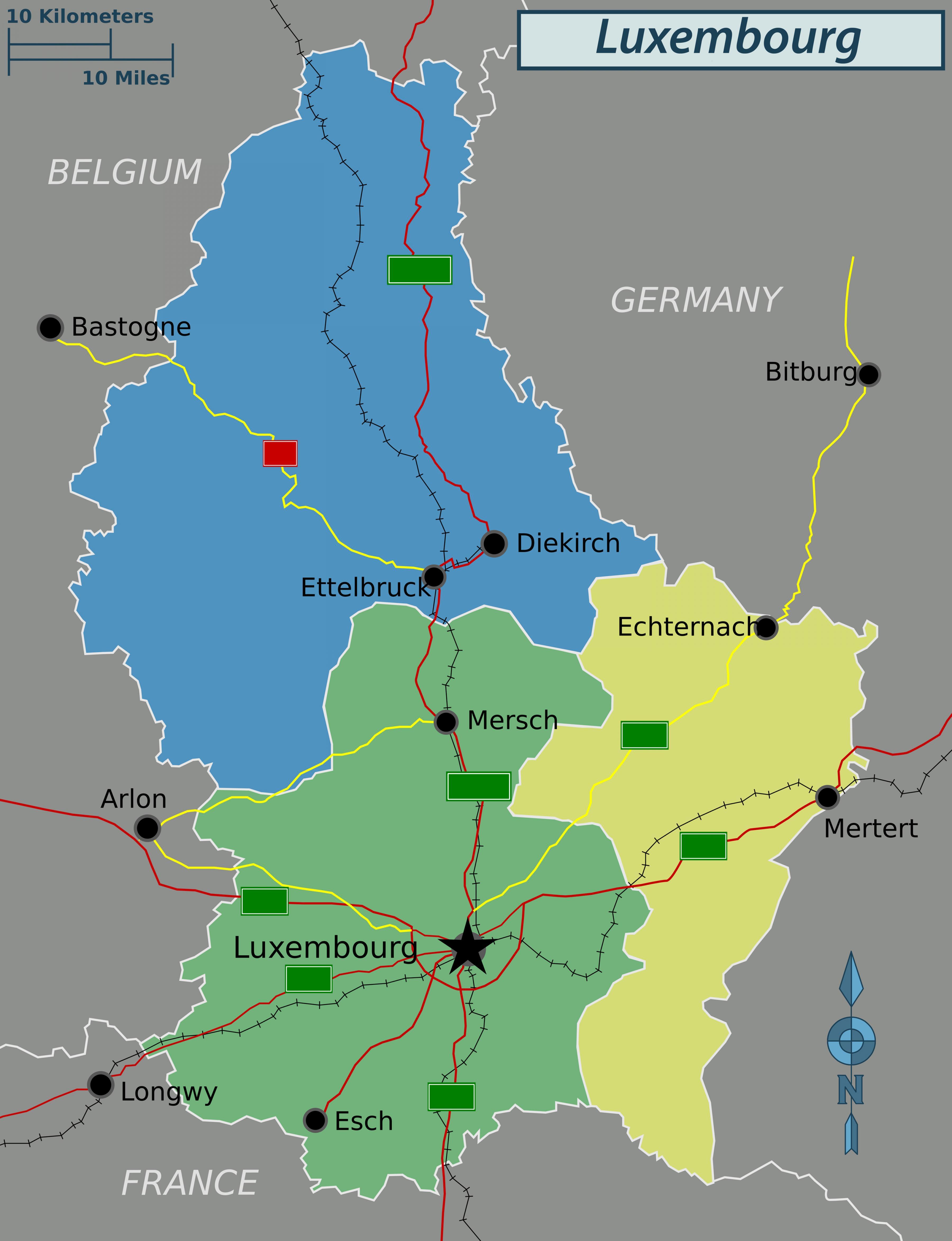 Luxemburgin Poliittinen Kartta Kartta Luxemburgin Poliittinen